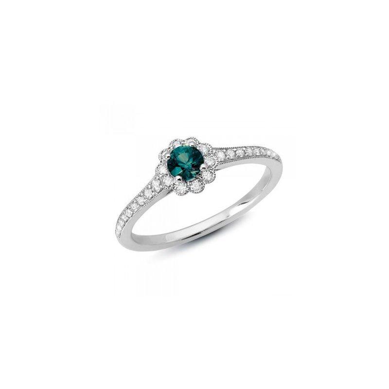 14 Karat White Gold Flower Inspired Ring With Alexandrite and Diamonds