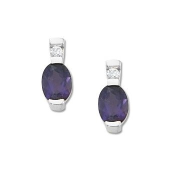 14 Kt Earrings With Oval Amethysts And Round Diamonds