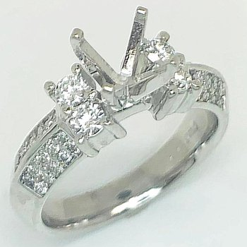 Diamond Set Angled Shank Ring Mounting