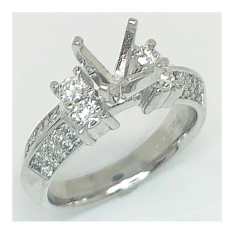 Diamond Set Angled Shank Ring Mounting