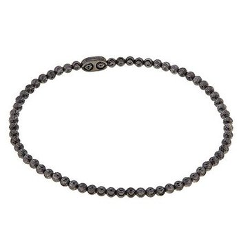 Black Sterling Silver Diamond Cut Bead Bracelet