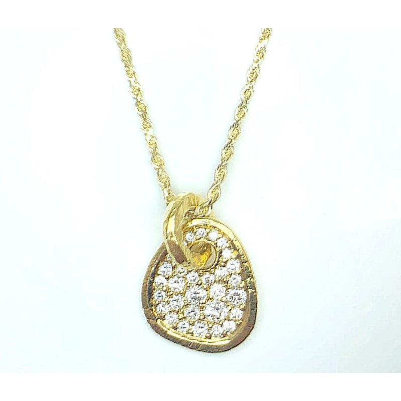 18 Karat Free Form  Pave Set Diamond Pendant