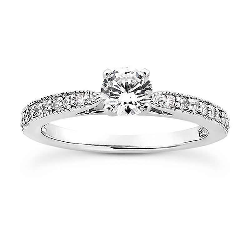 Petite ring Mounting with diamond set pinched shank