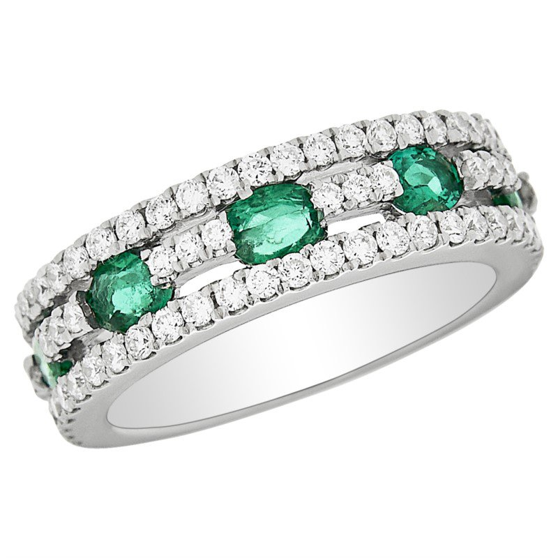 14 kt White Gold Diamond and Emerald Ring