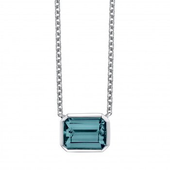 Clean Design Blue Topaz Pendant and Chain