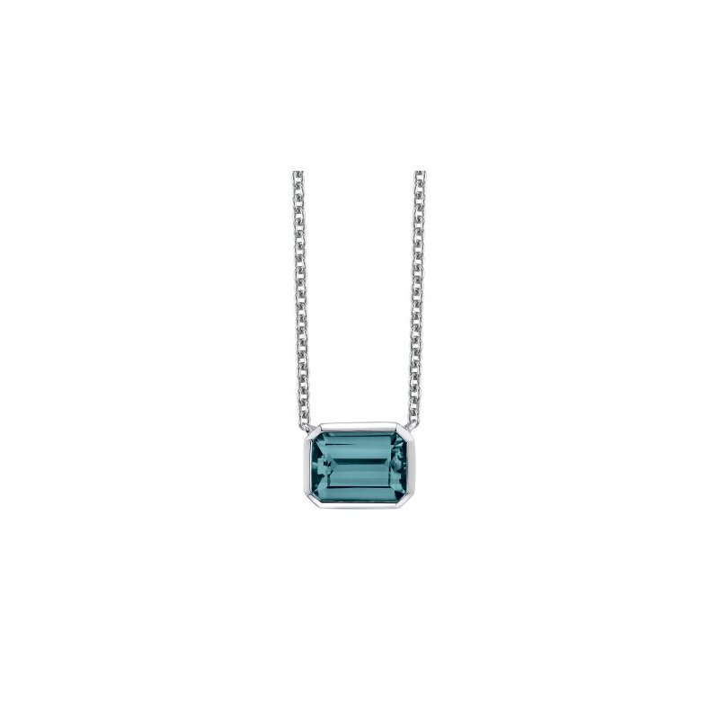 Clean Design Blue Topaz Pendant and Chain