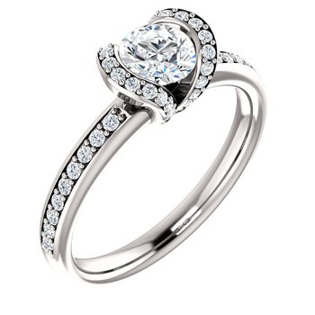 White 14 Karat Partial Bezel Set Ring With Small Diamonds In Bezel And Shoulders
