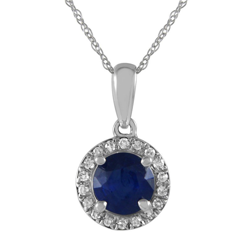 Petite Sapphire and Diamond Halo Pendant