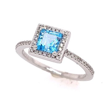 Blue Topaz and Diamond Halo Ring