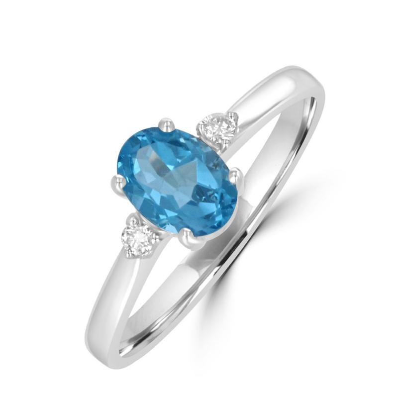 Classic White Gold 3 Gemstone Ring in Blue Topaz and Diamond