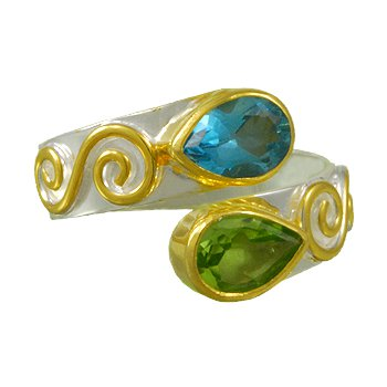 Bypass Ring with Scroll Design, Peridot and Topaz