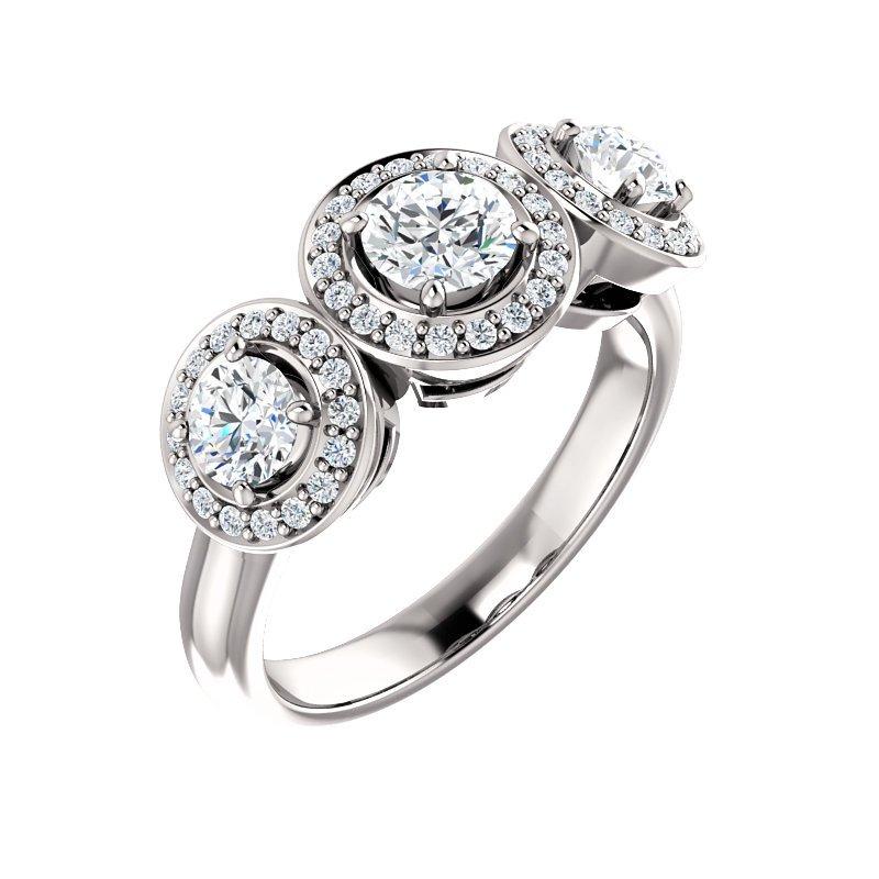 White 14 Karat 3 Stone Diamond Set Halo Ring