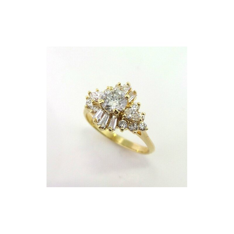 Traditional Cluster Ring with Round and Baguette Diamonds
