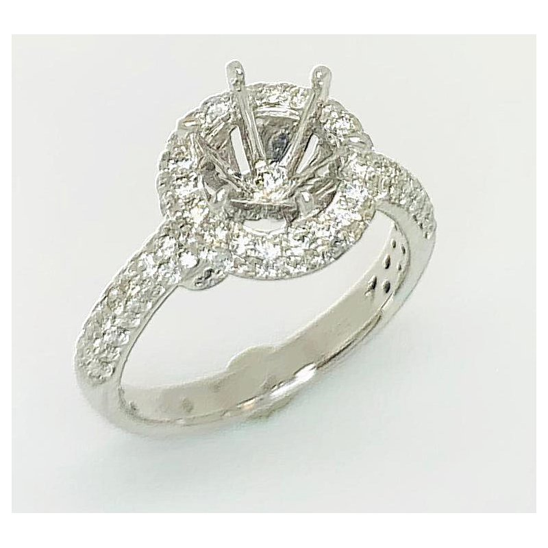 Modern 18 kt Ring with Halo and Pave shank