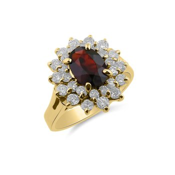 Yellow Gold Diamond and Garnet Ring