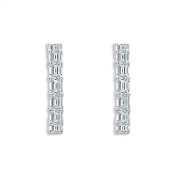 Dazzling Emerald Cut Diamond Hoops