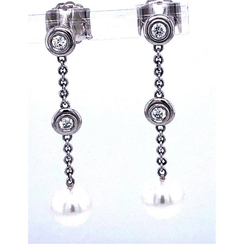 Bezel Diamond and Pearl Drop Earrings