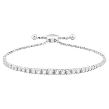 14 Karat Graduated Diamond Bolo Style Bracelet With 43=2.00 cttw Diamonds