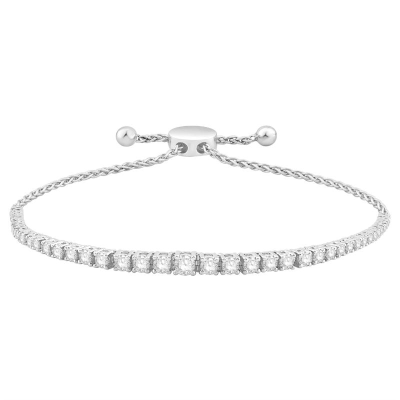 14 Karat Graduated Diamond Bolo Style Bracelet With 43=2.00 cttw Diamonds