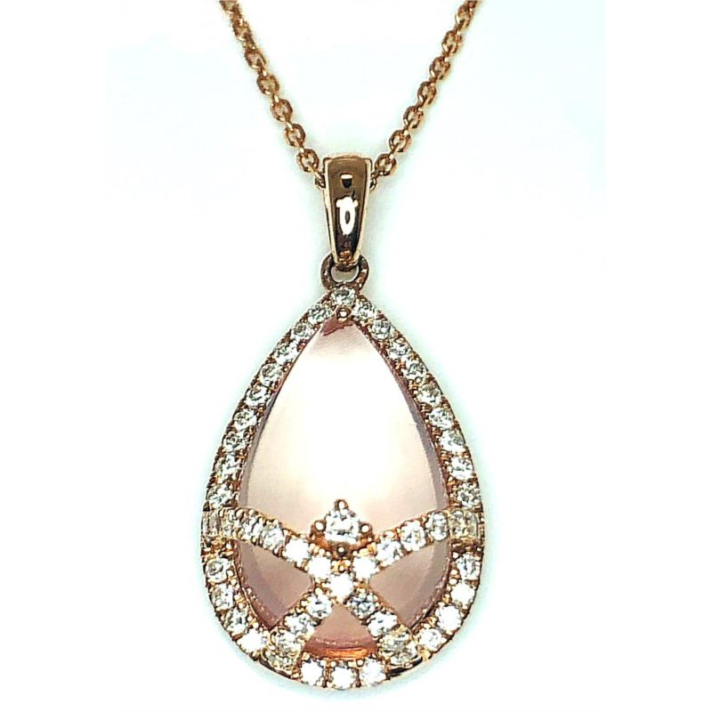 Elaborate Pendant with Mother  of Pearl, Rose Quartz and Diamonds