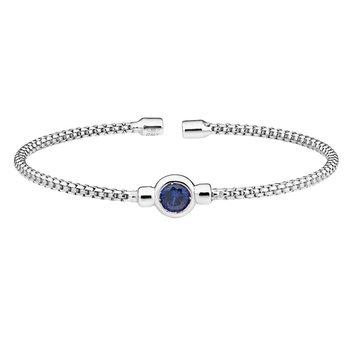 Bezel Set Sterling Silver Flex Bracelet