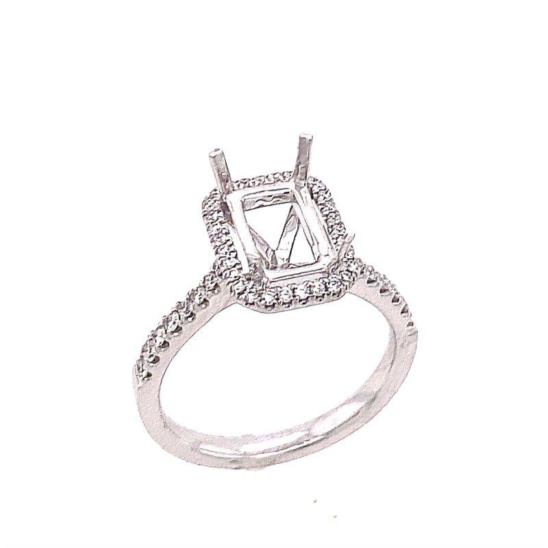 14 Karat White Gold Ring Mounting with Diamond Halo