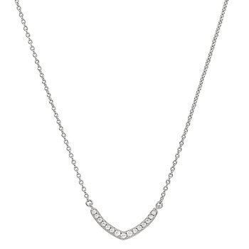 Sterling Silver V Pendant With Simulated Diamonds On Adjustable Length Chain