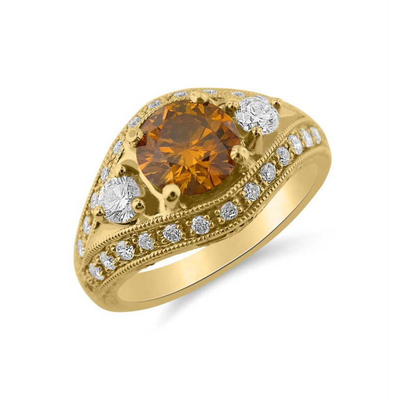 Natural Yellow Orange Diamond and White Diamond Ring