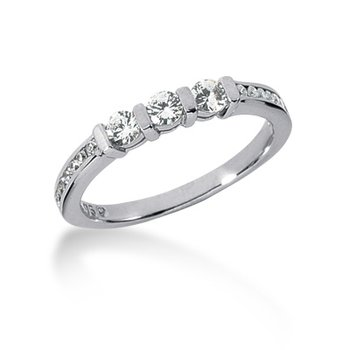 wedding band with 3 centers and diamond shank