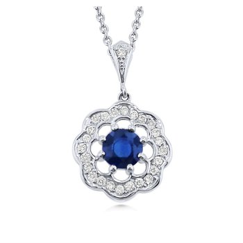 Sweet Design Sapphire and Diamond Pendant