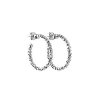 Sterling Silver Platinum-Plated Slash Hoop Earrings