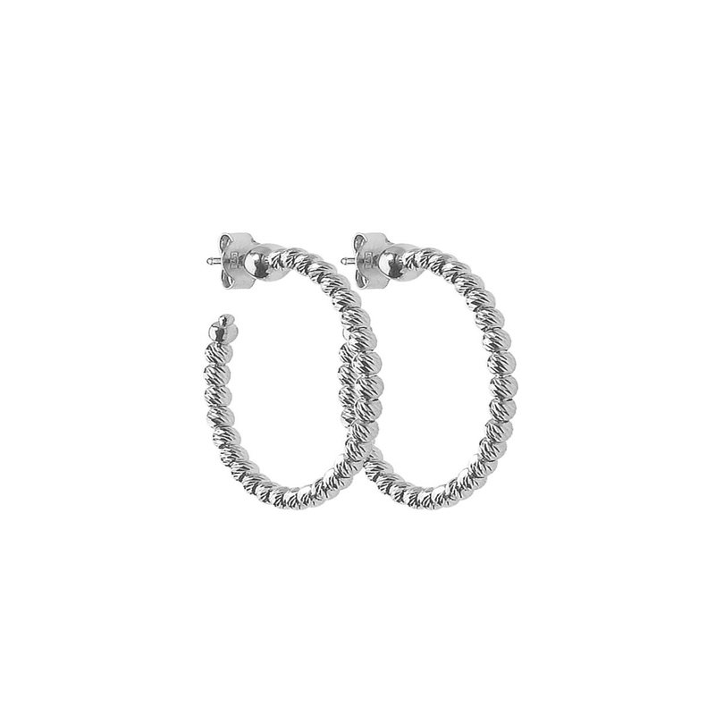 Sterling Silver Platinum-Plated Slash Hoop Earrings