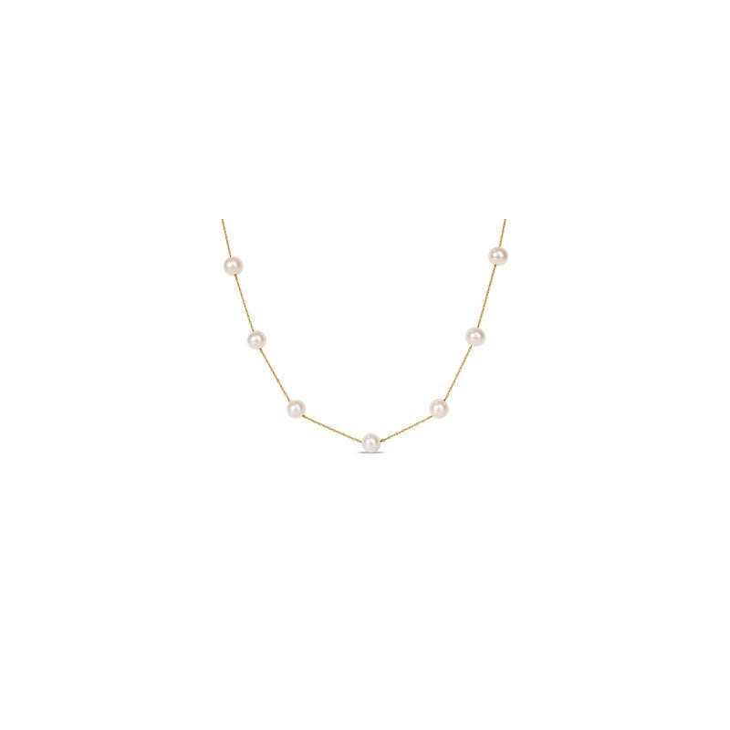 Saltwater Akoya Pearl and Gold Chain Necklace