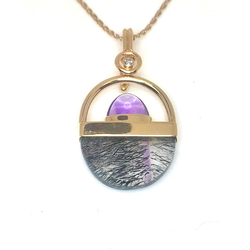 Custom made unique Cocoxinite and Amethyst Pendant