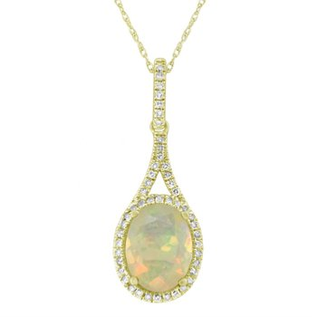 Yellow Gold Opal and Diamond Drop Pendant