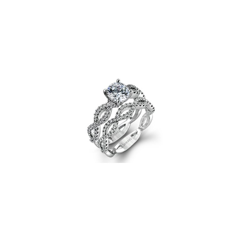 18kt Infinity Pattern Engagement Ring (Pictured with matching band)