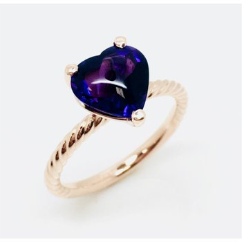 Rose Gold Amethyst Heart Ring