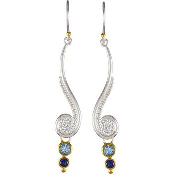 Sterling Silver Filigree and Natural Colored Gemstone Drop Earrings