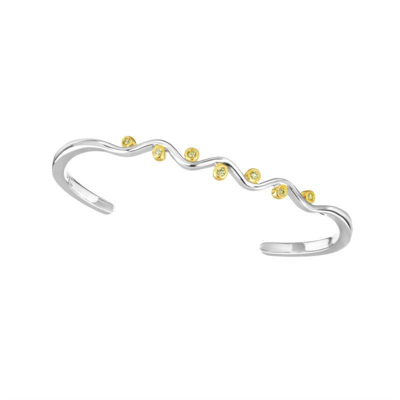 Silver Bangle w/ Yellow Gold & Diamonds