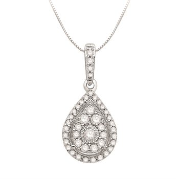 Bold 10 Karat Pear Shaped Cluster Pendant With 42=0.25Tw Round H/I Si Diamonds