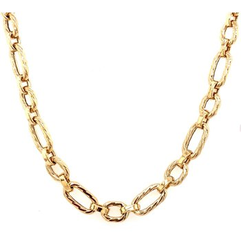 14 Karat Oval and Circle Link Pendant, 20""