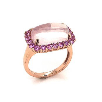 Rosé 14 Karat Ring With Rose Quartz Square Cushion Cabochon And Pink Sapphire Surround