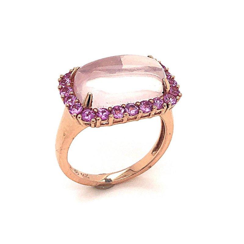 Rosé 14 Karat Ring With Rose Quartz Square Cushion Cabochon And Pink Sapphire Surround