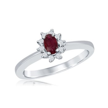 Vintage Inspired 14 Karat White Gold Diamond and Ruby Ring