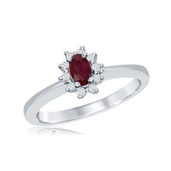 Vintage Inspired 14 Karat White Gold Diamond and Ruby Ring