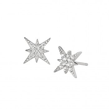 White Sterling Silver Starburst Earrings with Simulated Diamonds