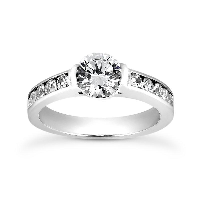 14 Karat Channel Set Engagement Ring Mounting