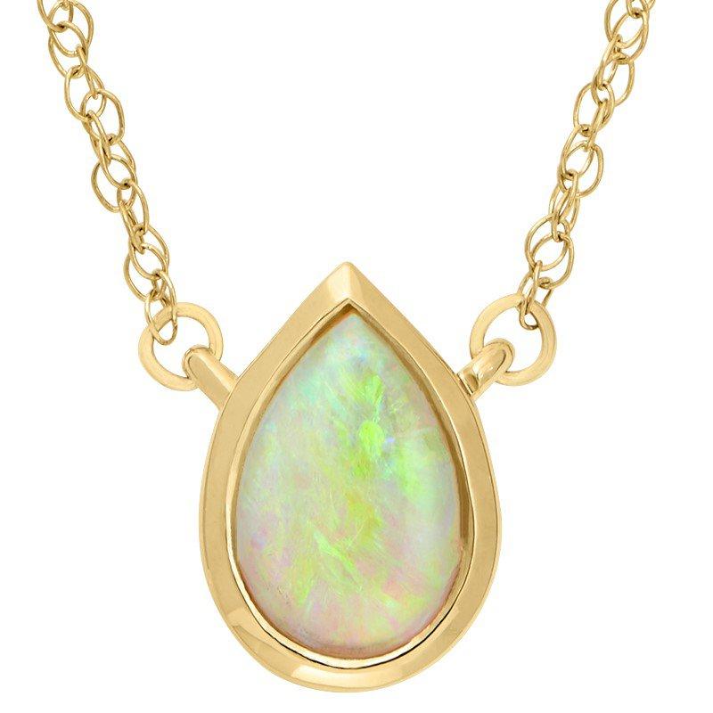 Yellow 14 Karat Bezel Set Pendant With Opal