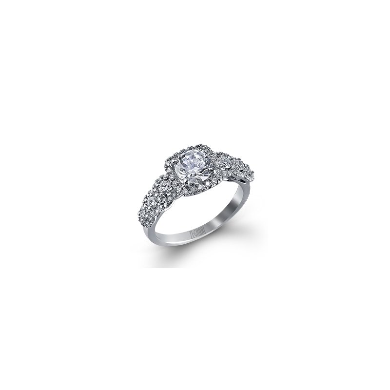 14 Karat Diamond Ring with Halos on shank