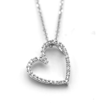 White 14 Karat Asymmetrical Diamond Heart Pendant